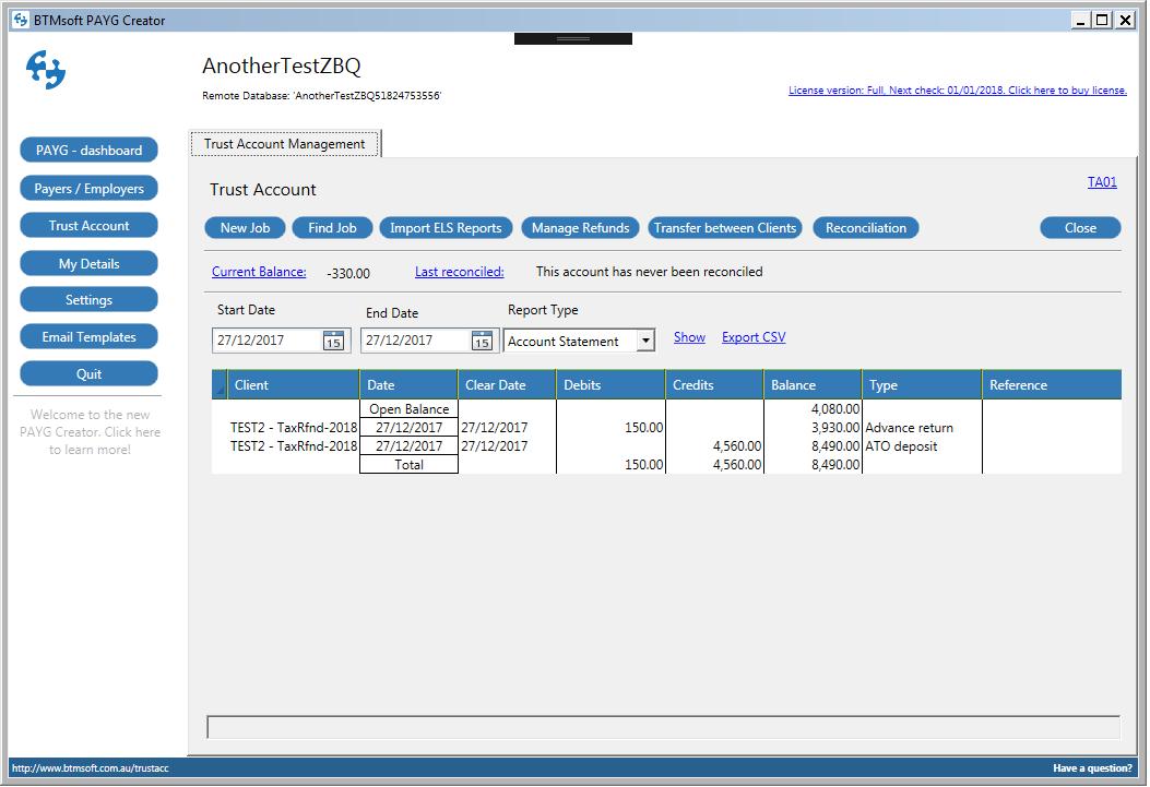 TA01 - Trust Account Dashboard